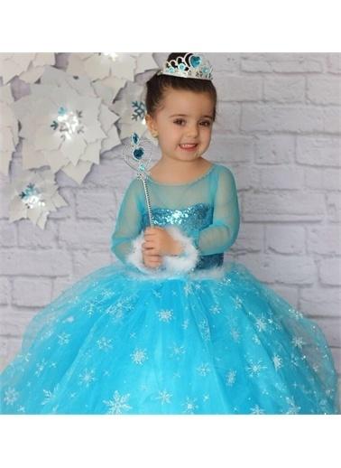 Riccotarz Kız Çocuk Pulpayetli Karlar Kraliçesi Uzun Kol Kostüm Mavi
